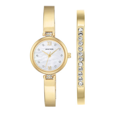 Armitron Now Womens Gold Tone Watch Boxed Set-75/5487mpgpst