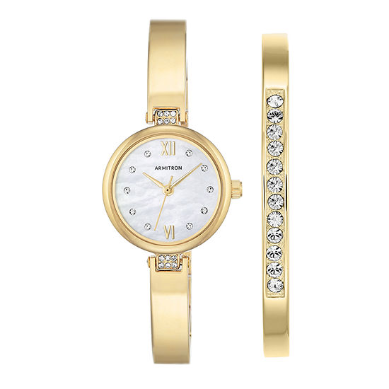 Armitron Now Womens Gold Tone Watch Boxed Set-75/5487mpgpst