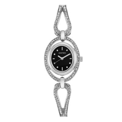 Armitron Now Womens Silver Tone Watch Boxed Set-75/5473bksv