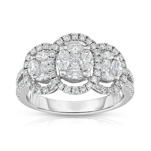 Womens 1 1/4 CT. T.W. Genuine White Diamond 14K Gold Cocktail Ring