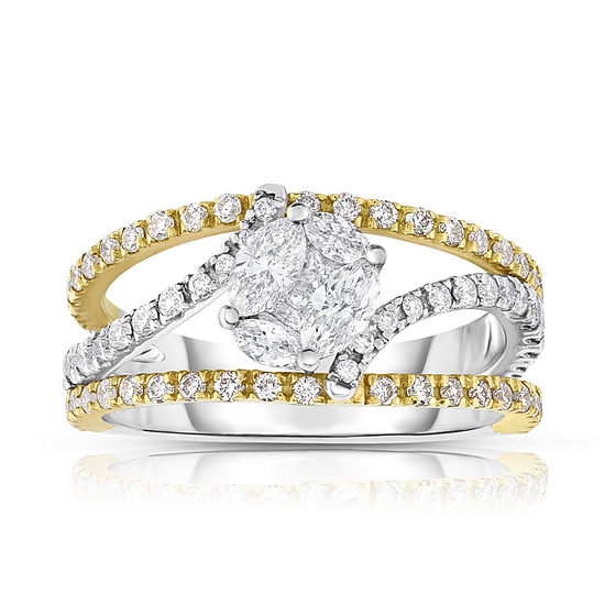 Womens 1 1/4 CT. T.W. Genuine White Diamond 14K Gold Bypass  Cocktail Ring