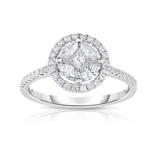 Womens 3/4 CT. T.W. Genuine White Diamond 14K Gold Cluster Cocktail Ring