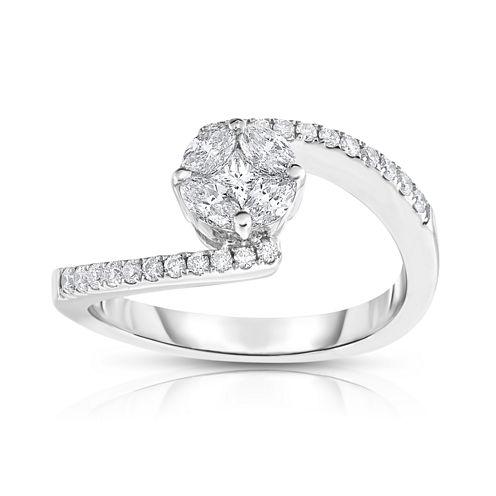 Womens 5/8 CT. T.W. Genuine White Diamond 14K Gold Bypass Ring
