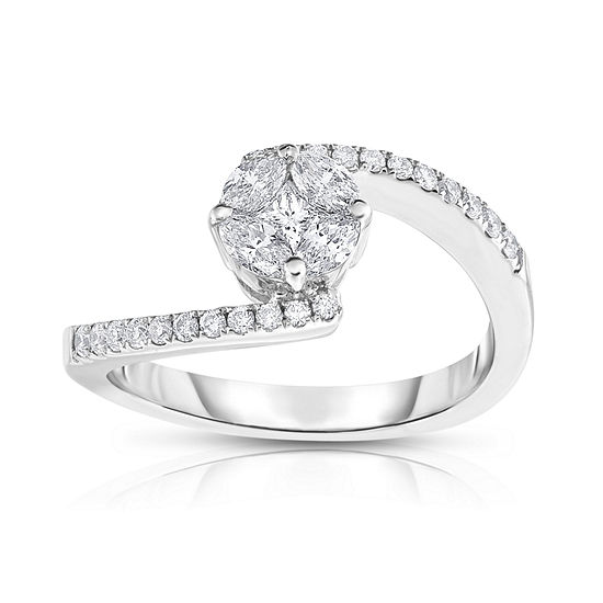 Womens 5 8 Ct Tw Genuine White Diamond 14k Gold Bypass Cocktail Ring