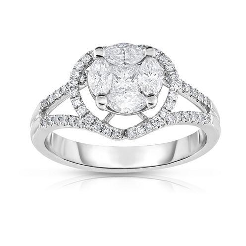 Womens 1 CT. T.W. Genuine White Diamond 14K Gold Cocktail Ring
