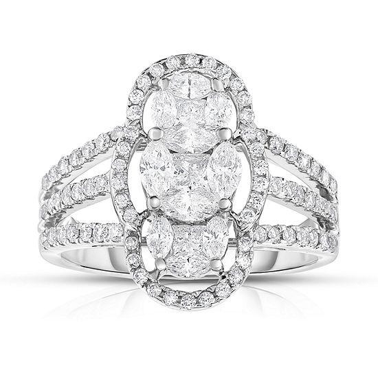 Womens 1 1/3 CT. T.W. Genuine White Diamond 14K Gold Cocktail Ring