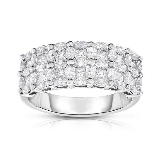 Womens 3 Mm 1 1/3 CT. T.W. Genuine White Diamond 14K Gold Band