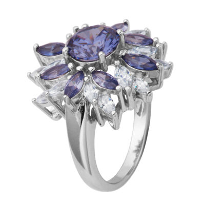 DiamonArt® Sterling Silver SimulatedTanzanite & White Cubic Zirconia Flower Cluster Ring