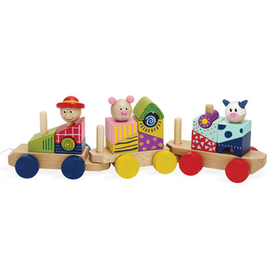 Manhattan Toy Stack & Pull Wood Train