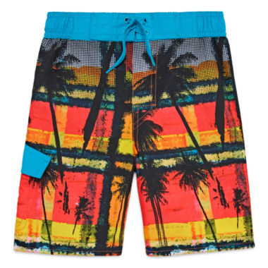 Arizona Boys Palm Tree Swim Trunks-Preschool