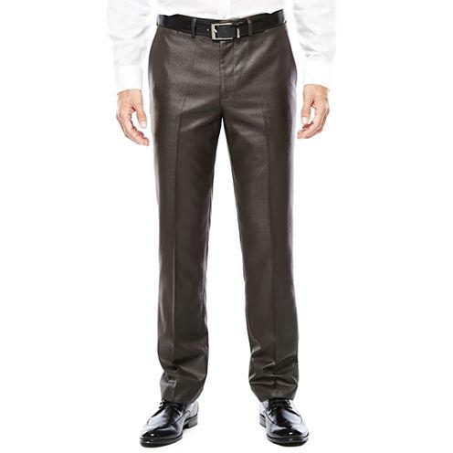 Men's J.Ferrar Charcoal Black Plaid Flat-Front Slim Fit Suit Pants