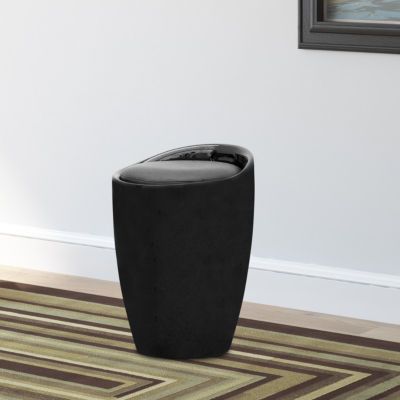 Black Leatherette Storage Stool