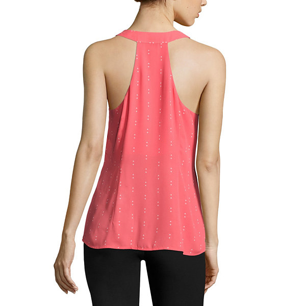 Worthington Sleeveless V Neck Woven Blouse