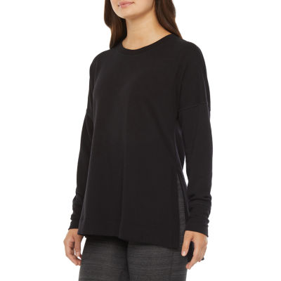 Xersion Womens Crew Neck Hi Slit Pullover