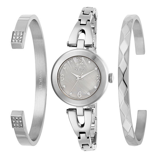 Invicta Angel Womens Silver Tone Stainless Steel 3-pc. Watch Boxed Set-29330