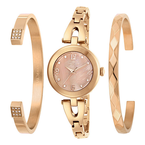 Invicta Angel Womens Rose Goldtone Stainless Steel Bracelet Watch-29334