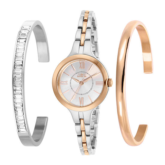 Invicta Angel Womens Two Tone Stainless Steel 3-pc. Watch Boxed Set-29347