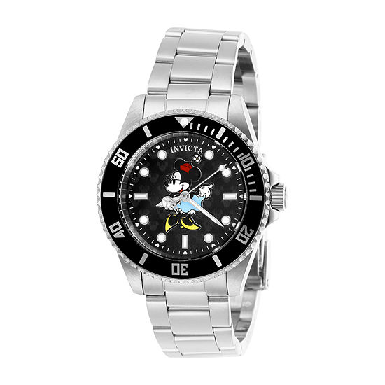 Invicta Disney Womens Silver Tone Stainless Steel Bracelet Watch-29675