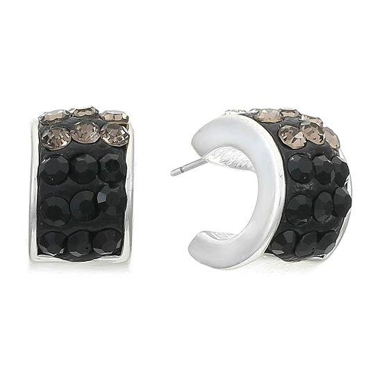 Liz Claiborne 1 Pair Black Hoop Earrings