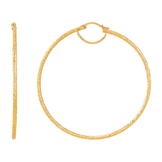 6K Gold 60mm Round Hoop Earrings