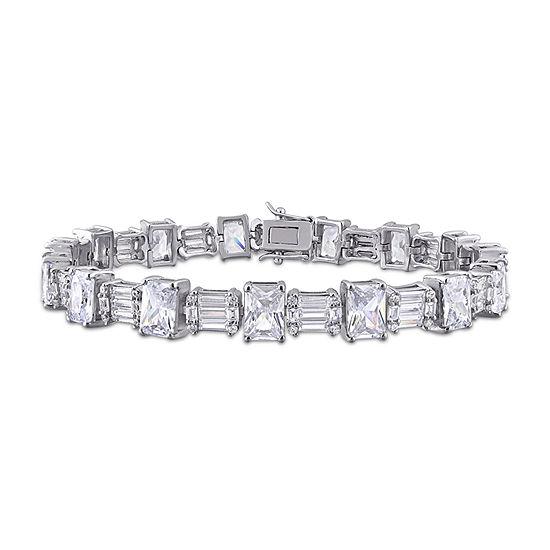 White Cubic Zirconia Sterling Silver 7.5 Inch Tennis Bracelet