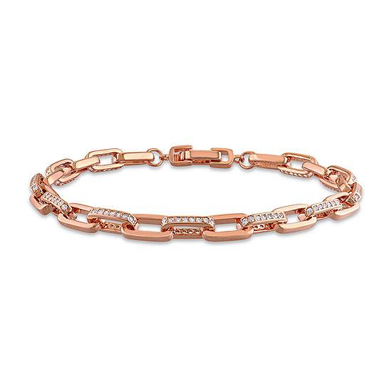 18K Rose Gold Over Silver 7 Inch Hollow Link Bracelet