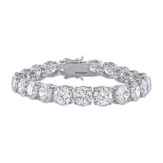 White Cubic Zirconia Sterling Silver 7 Inch Tennis Bracelet