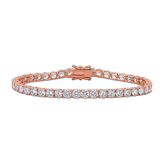 White Cubic Zirconia 18K Rose Gold Over Silver 7.25 Inch Tennis Bracelet