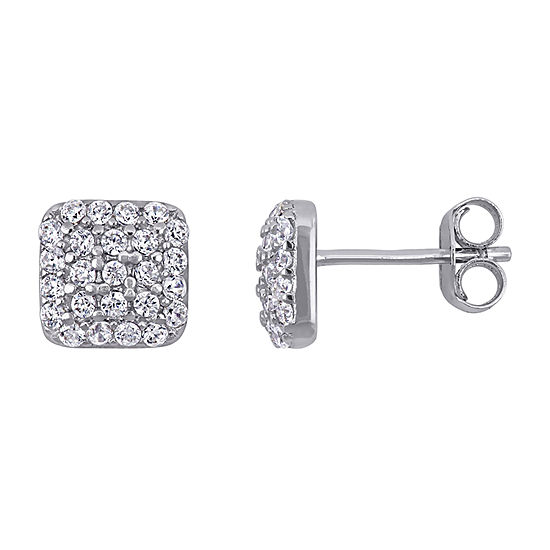 White Cubic Zirconia Sterling Silver 7.8mm Square Stud Earrings