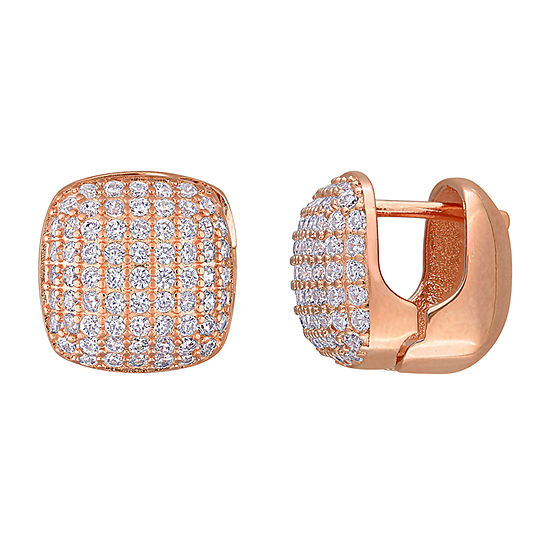 White Cubic Zirconia 18K Rose Gold Over Silver 12.8mm Square Stud Earrings