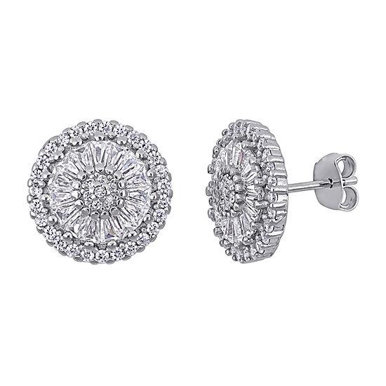 White Cubic Zirconia Sterling Silver 14mm Stud Earrings
