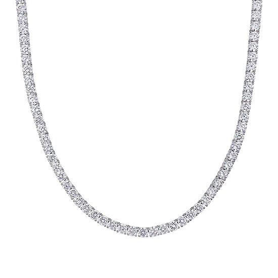 Womens White Cubic Zirconia Sterling Silver Tennis Necklaces