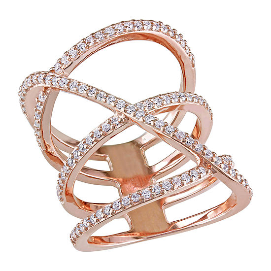 Womens 1 CT. T.W. White Cubic Zirconia 18K Rose Gold Over Silver Crossover Cocktail Ring