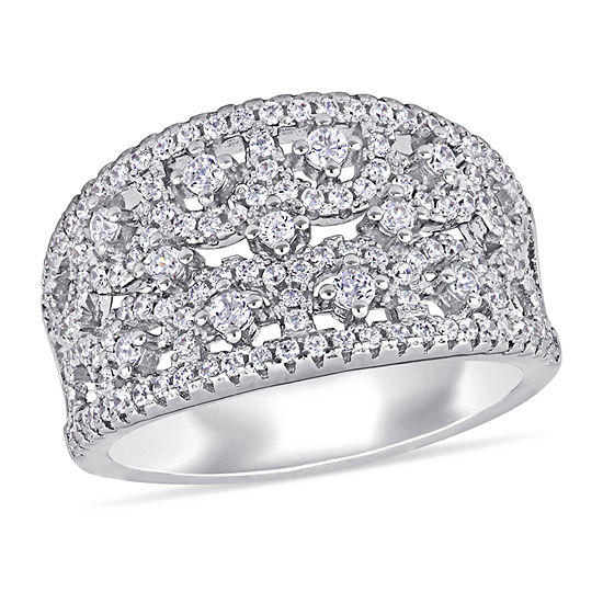 Womens 1 1/2 CT. T.W. White Cubic Zirconia Sterling Silver Cocktail Ring