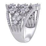 Womens 1 CT. T.W. White Cubic Zirconia Sterling Silver Flower Cocktail Ring