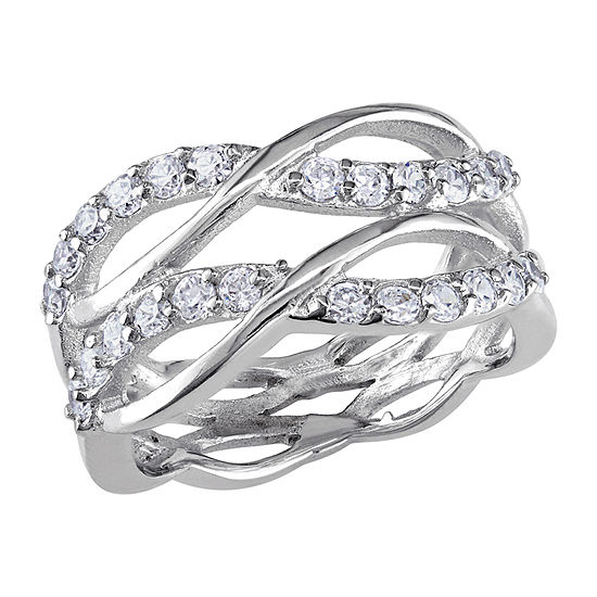 Womens 1 1/5 CT. T.W. White Cubic Zirconia Sterling Silver Crossover Cocktail Ring