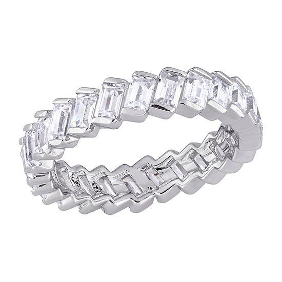 4MM 2 3/4 CT. T.W. White Cubic Zirconia Sterling Silver Eternity Band