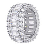 Womens 11M White Cubic Zirconia Sterling Silver Eternity Band