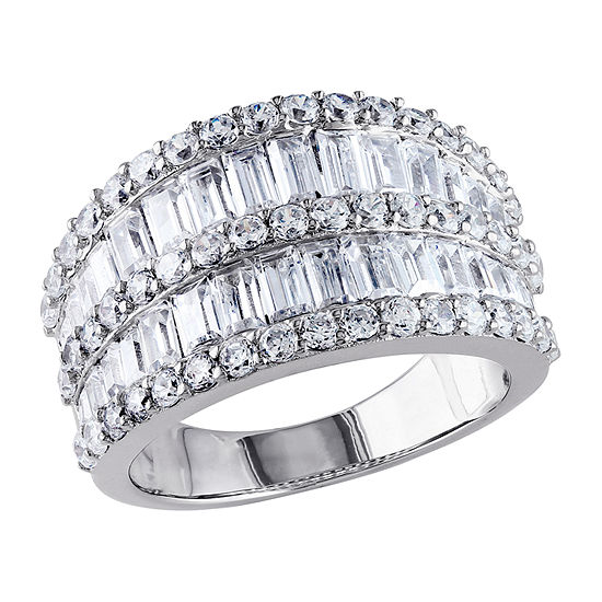Womens 3.5mm 6 CT. T.W. White Cubic Zirconia Sterling Silver Band