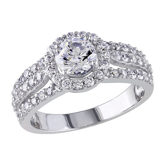 Womens 3 1/4 CT. T.W. White Cubic Zirconia Sterling Silver Engagement Ring