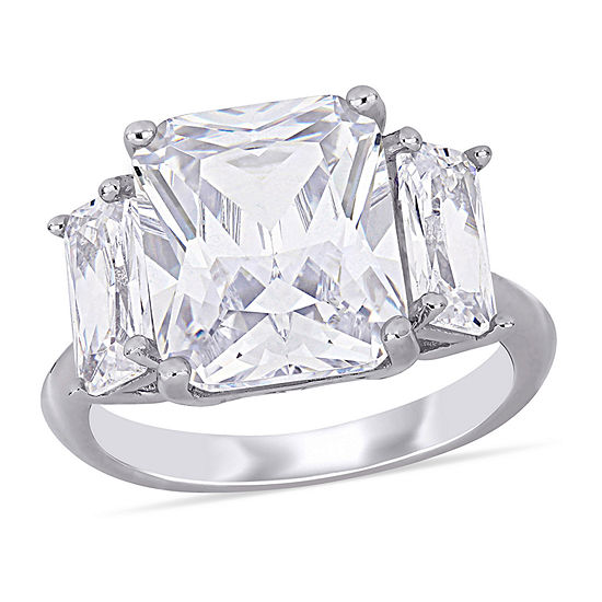 Womens White Cubic Zirconia Sterling Silver 3-Stone Cocktail Ring