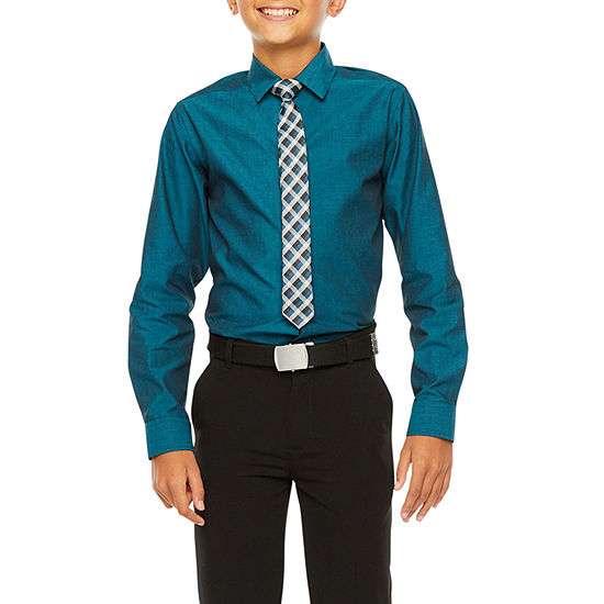 Van Heusen Boys Point Collar Long Sleeve Stretch Shirt + Tie Set - Big Kid