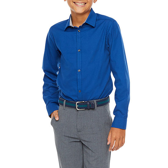 Van Heusen Boys Point Collar Long Sleeve Stretch Dress Shirt - Big Kid