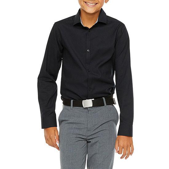 Van Heusen Boys Point Collar Long Sleeve Stretch Dress Shirt - Big Kid