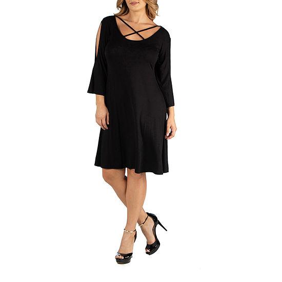 27 Comfort Apparel Knee Length Cold Shoulder Dress - Plus