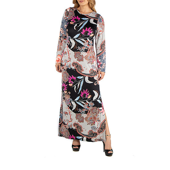 24/7 Comfort Apparel Floral Long Sleeve Maxi Dress - Plus