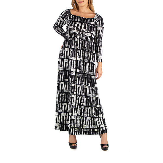 24/7 Comfort Apparel Black and White Long Sleeve Maxi Dress - Plus