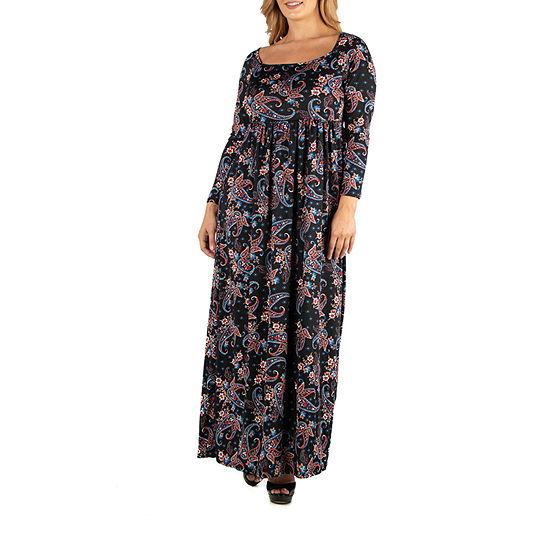 24/7 Comfort Apparel Long Sleeve Paisley Maxi Dress - Plus