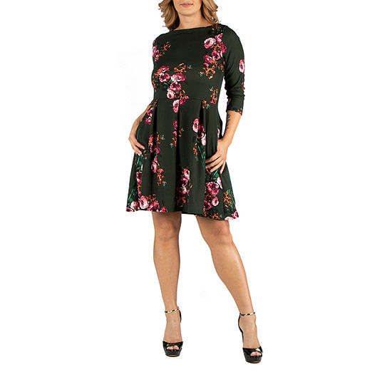 24/7 Comfort Apparel Green Floral Fit and Flare Pocket Dress - Plus