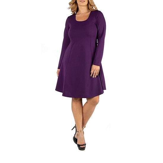 24/7 Comfort Apparel Simple Long Sleeve Flared Dress - Plus